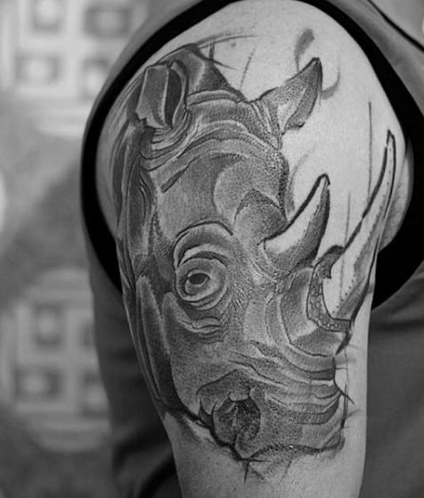 Cool Rhino Upper Arm Tattoos For Gentlemen