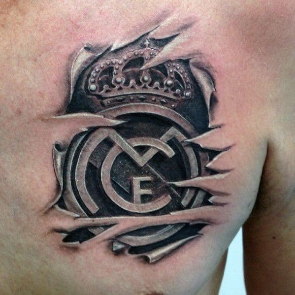 Cool Ripped Skin 3d Upper Chest Real Madrid Tattoo Design Ideas For Male