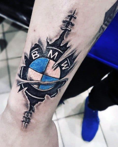 Cool Ripped Skin Bmw Logo Tattoos For Men