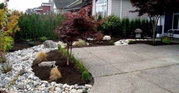 Cool River Rock Driveway Landscaping Design Ideas