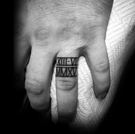 Cool Roman Numeral Ring Tattoos For Men