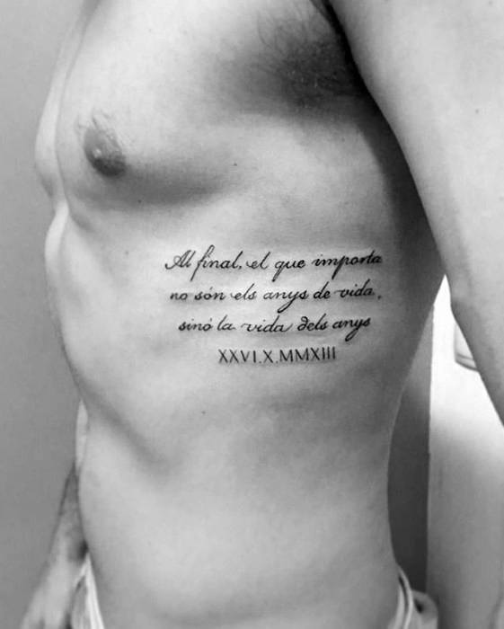 Cool Roman Numerals With Rib Quote Tattoo For Men