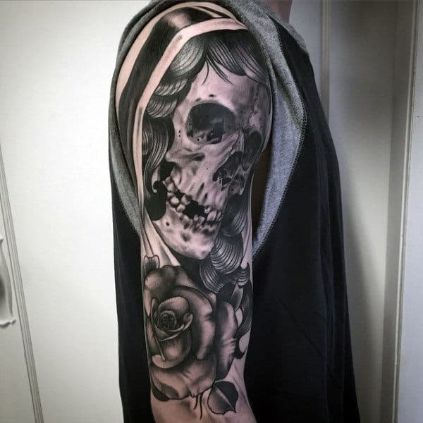 Cool Rose And Veiled Skeleton Tattoo Mens Arms
