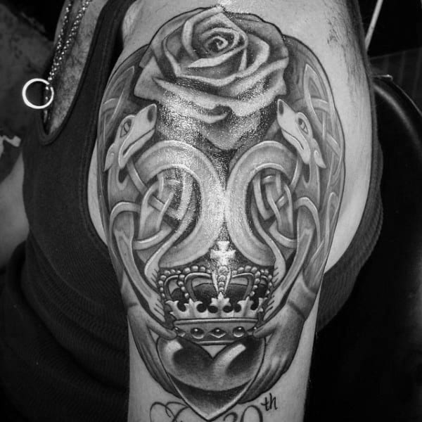 Cool Rose Flower Claddagh Mens Upper Arm Tattoo