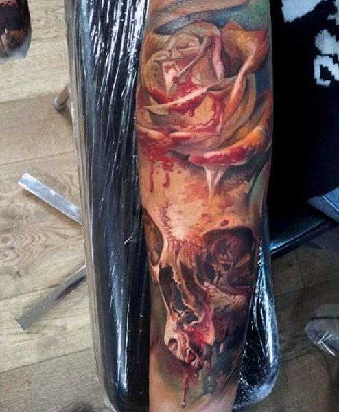 Cool Rose Flower Skull Modern Watercolor Tattoo On Man