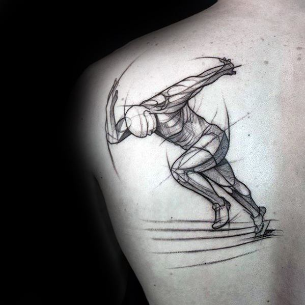 Cool Running Man Sketched Unique Back Tattoos For Guys