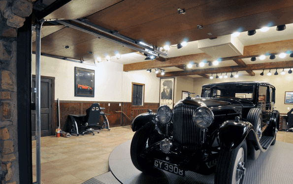 Cool Rustic Bulb Track Garage Lights With Wood Ceiling Design