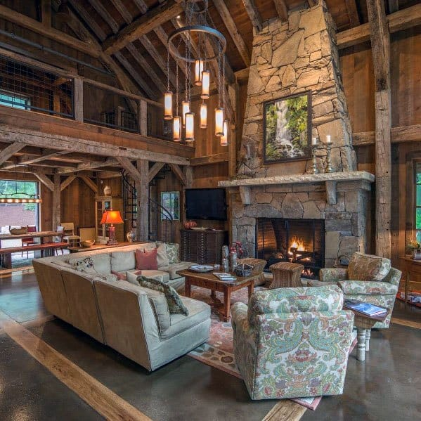 Cool Rustic Ceiling Living Room Log Cabin