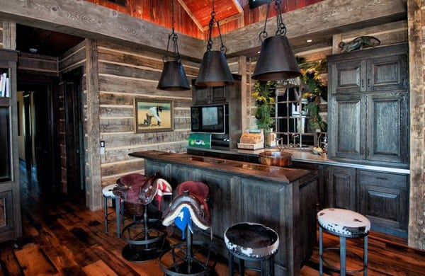 Cool Rustic Home Basement Bar Ideas