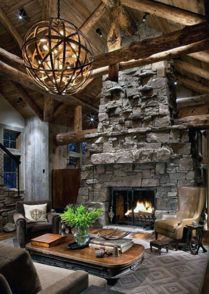 Cool Rustic Living Room Ideas With Stone Wood Burning Fireplace