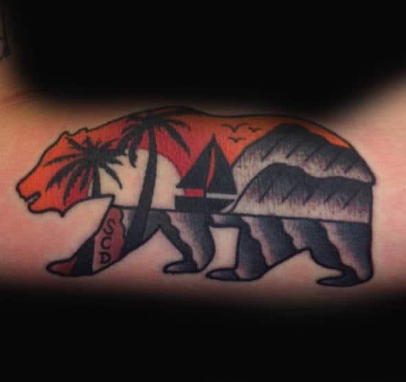 Cool Sailboat California Bear Mens Small Arm Tattoos