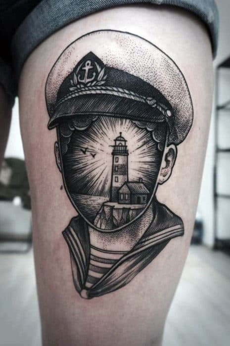 Cool Sailor Tattoo And Lighthouse Male Arms