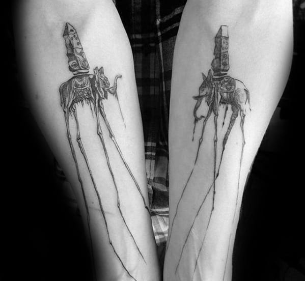 50 salvador dali elephant tattoo designs for men