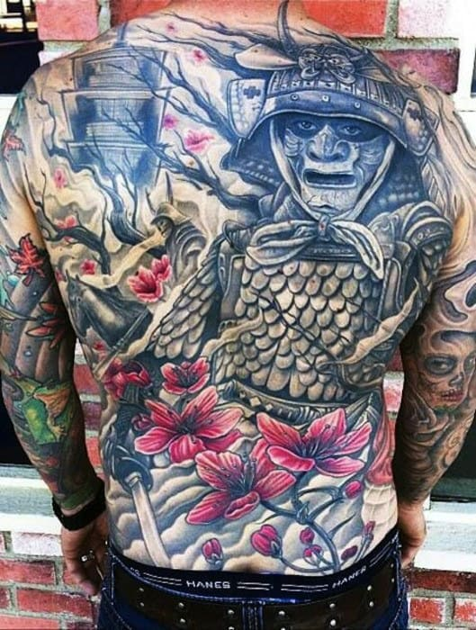 Cool Samuari Japanese Temple Mens Full Back Tattoos
