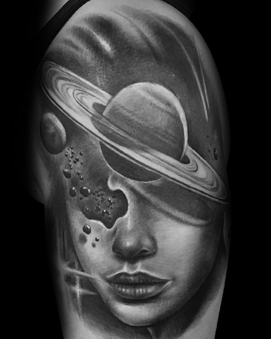 Cool Saturn Tattoo Design Ideas For Male