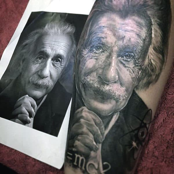 Cool Science Tattoo Of Albert Einstein For Men On Back Of Leg Calf