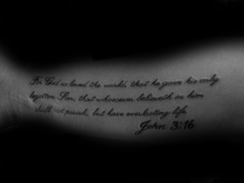 Cool Script John 316 Mens Bible Quote Tattoo Design Ideas