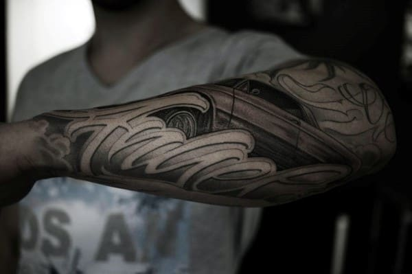 Cool Script Outer Forearm Shaded Tattoos For Males