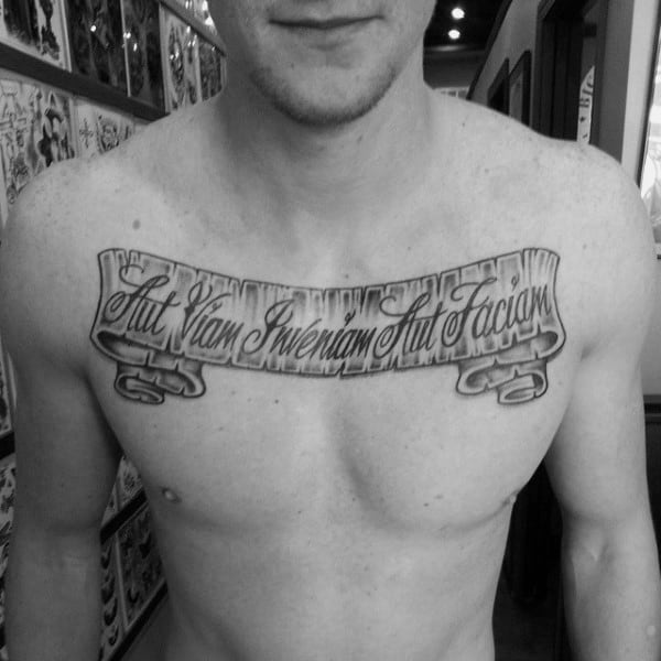 Cool Scroll Male Upper Chest Banner Tattoo Designs