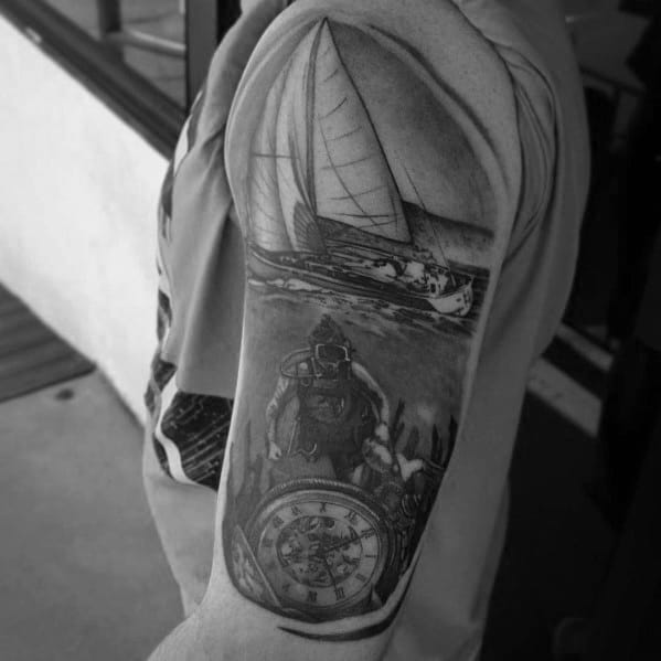 Cool Scuba Diving Tattoo Design Ideas For Male