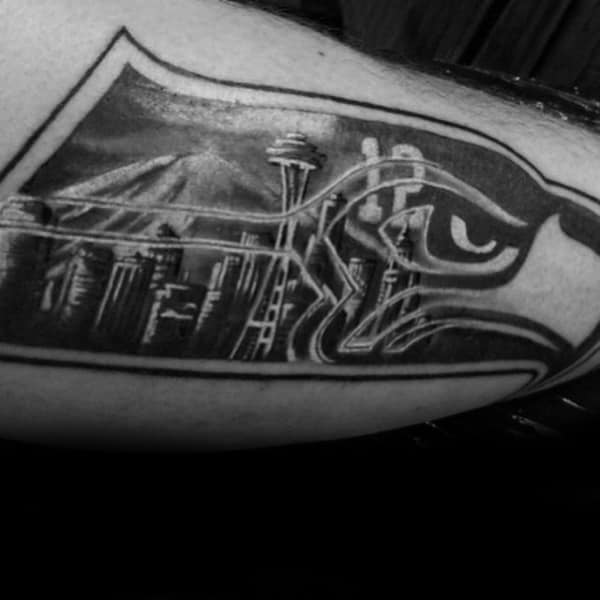 Cool Seattle Skyline Male Black Ink Tattoo Designs