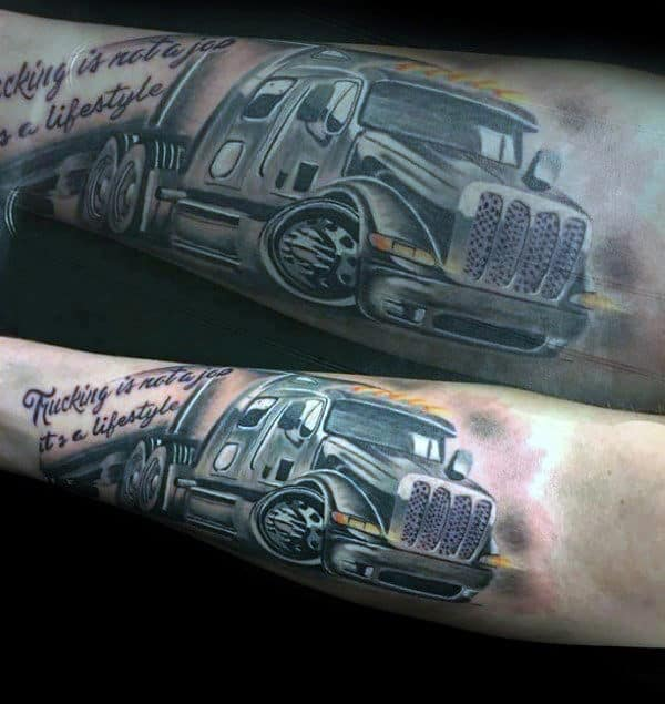 Cool Semi Truck Mens Inner Forearm Tattoo Ideas