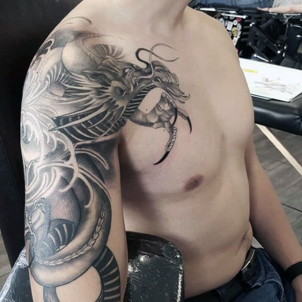 Cool Shaded Arm Mens Dragon Tattoos