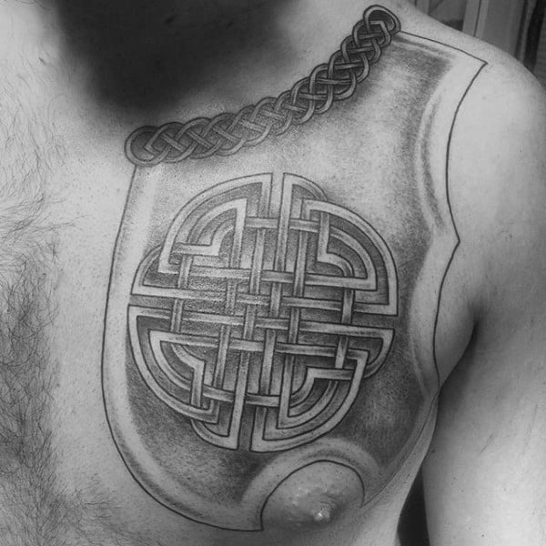 Cool Shaded Black And Grey Guys Celtic Knot Upper Chest Tattoo