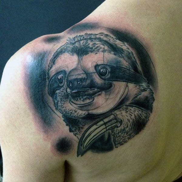 Cool Shaded Black And Grey Ink Sloth Upper Back Tattoos For Guys