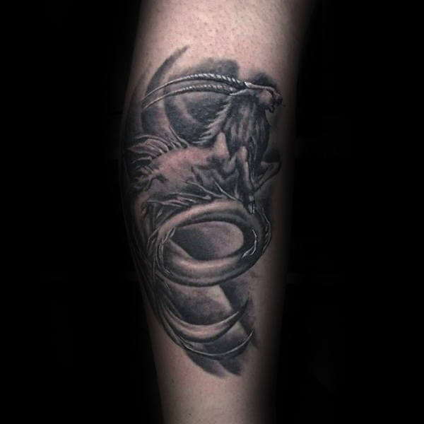 Cool Shaded Capricorn Black And Grey Leg Tattoos For Gentlemen