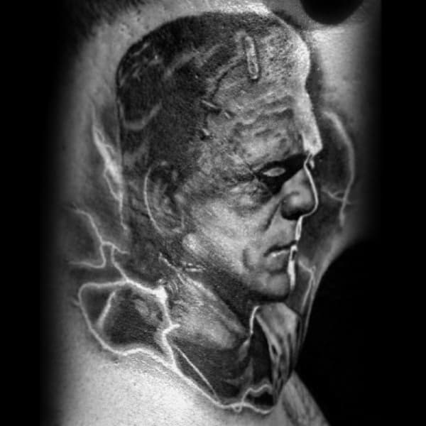 Cool Shaded Frankenstein Neck Male Tattoos