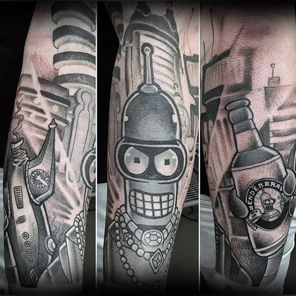Cool Shaded Ink Futurama Bender Mens Sleeve Tattoo