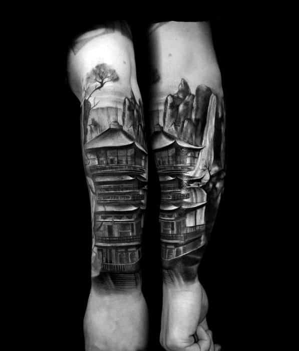 Cool Shaded Japanese Temple Outer Forearm Tattoo Ideas For Men