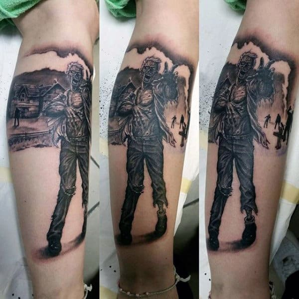 Cool Shaded Mens Inner Forearm Zombie Apocalypse Tattoo Inspiration