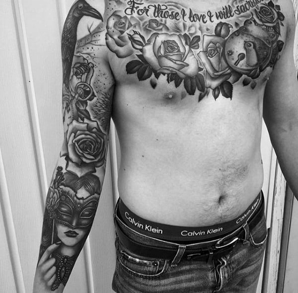 Cool Shaded Mens Upper Chest Lock Tattoos