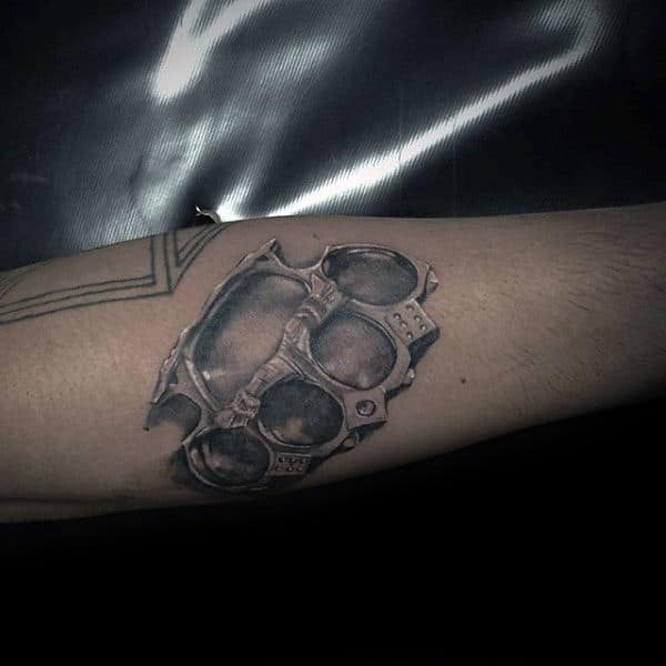 Cool Shaded Realistic Male Brass Knuckles Forearm Tattoo