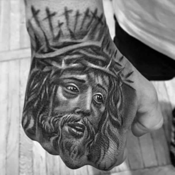 Cool Shadow Cross With Crown Of Thorns Mens Jesus Christian Hand Tattoo