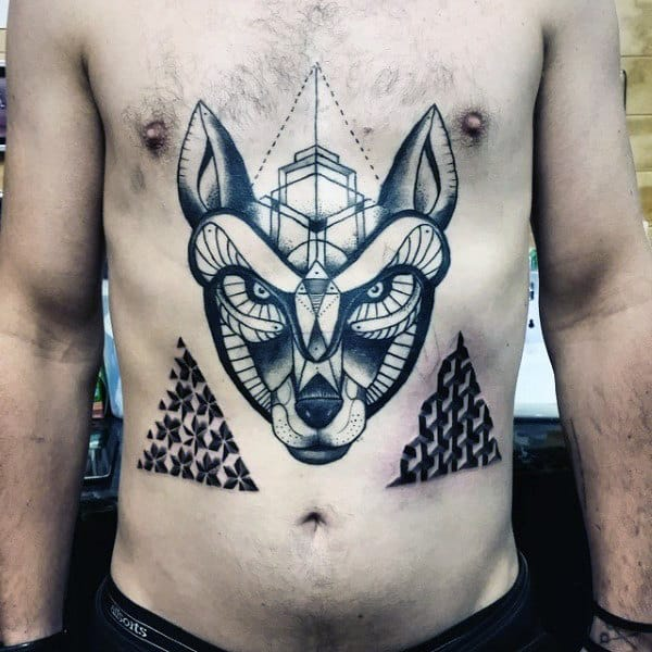 Cool Shapes Geometric Wolf Chest Tattoo On Male