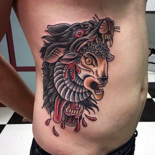 Cool Sheep Wolf Rib Cage Side Tradtional Tattoo Design Ideas For Male