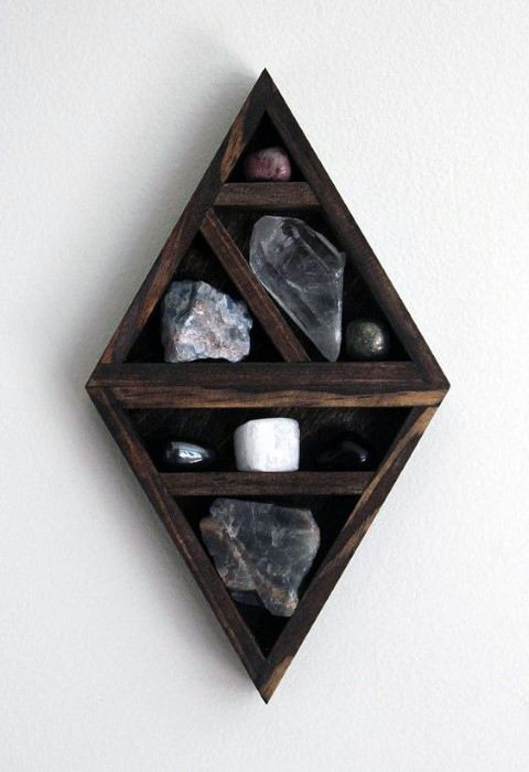Cool Shelf With Crystals Bachelor Pad Wall Art