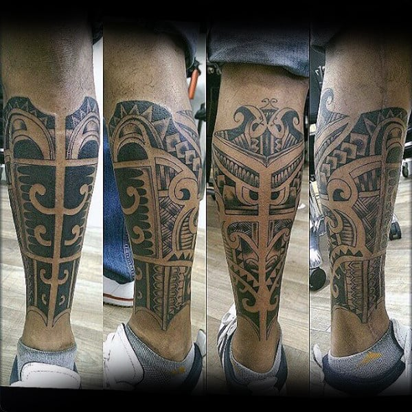 Cool Shin Tattoos For Men With Tribal Design