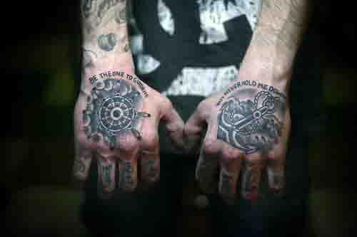 Cool Ship Wheel And Anchor Mens Hand Tattoos