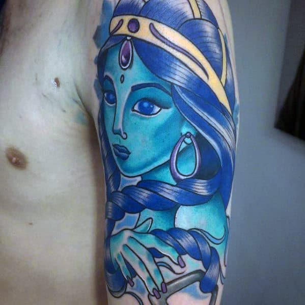 cool shiva final fantasy half sleeve tattoos for men