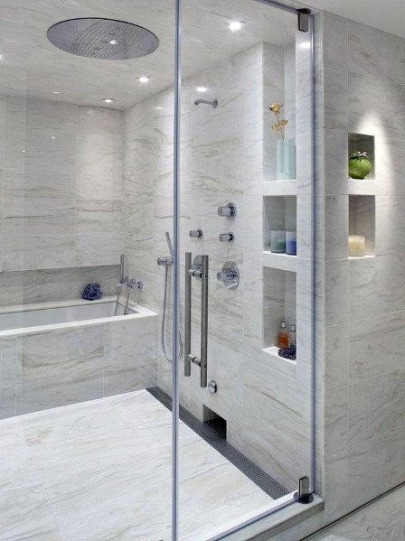 Cool Shower Flooring Tile Ideas Marble