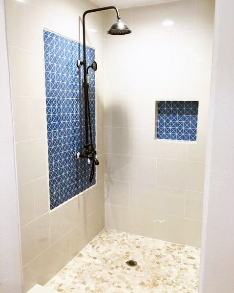 Cool Shower Niche Design Ideas With Blue Tiles