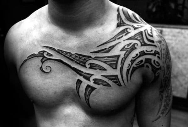 Cool Sick Tribal Chest And Shoulder Tattoos For Gentlemen