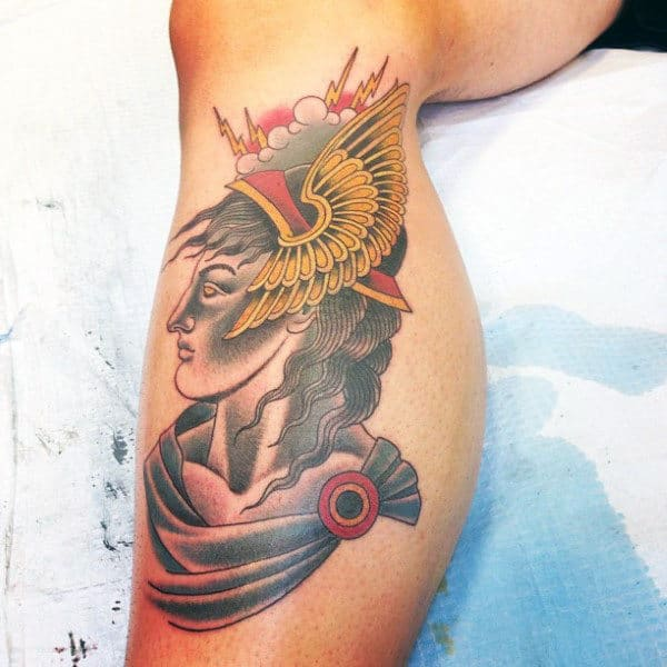 Cool Side Of Leg Male Hermes Portrait Tattoo