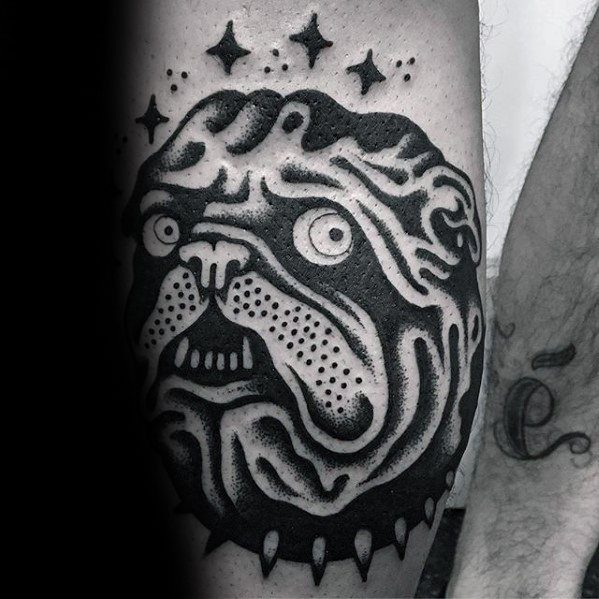 Cool Simple Bulldog Mens Forearm Traditional Tattoos