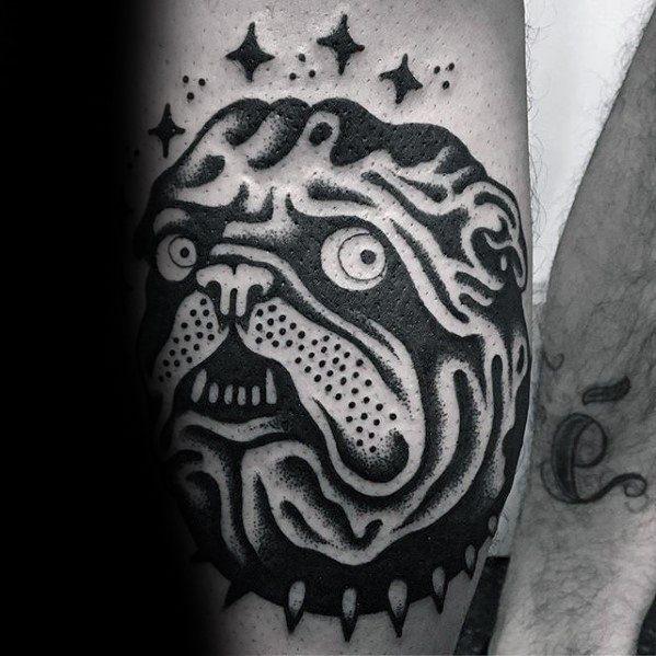Cool Simple Bulldog Mens Forearm Traditional Tattoos