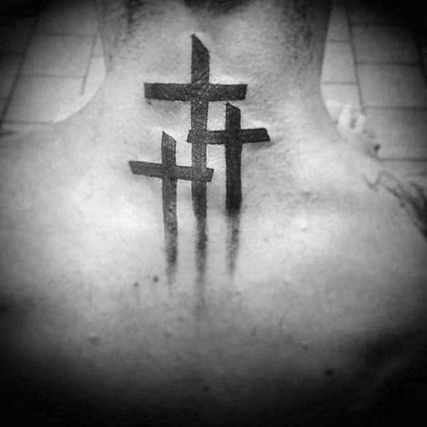 Cool Simple Cross Paint Brush Stoke Mens Upper Back Tattoo